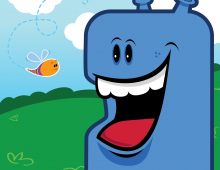 Blue Monster Character – Happy guy is about to get stung!